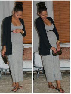 Maternity fashion:  Cute idea to throw a cardigan over a summer maxi dress and add a belt!
