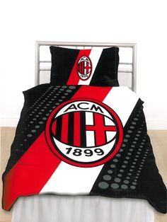 AC Milan FC Stripe Crest Single Duvet Cover Pillowcase Set Brand new design - official merchandise Duvet Cover - size 135cm x 200cm 55in x 79in