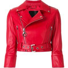 Philipp Plein Carolyn Flynn Leather Biker jacket ($2,565) ❤ liked on Polyvore featuring outerwear, jackets, red, biker jacket, motorcycle jacket, cropped moto jacket, rider leather jacket and red motorcycle jacket