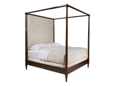 """Artisan 4 Post Bed Hand crafted bed frame in your choice of ash or mahogany wood species. Available with a fully upholstered headboard or all in wood. Many different fabric and wood options available.  DIMENSIONS: 65""""W X 88""""D X 91""""H"""