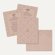 This fabulous card has stunning self Embossed floral designs on the entire front with matching mailing box envelope. This marvellous and modern invitation card is made from high quality of Beige Color Matt Finish card paper. Gold plated Bismillah sticker placed at center of the card gives amazing look. ‪#‎IslamicWeddingCards‬ #wedding