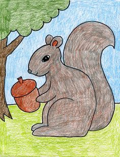 """Autumn--How to draw a squirrel (hard); add handwriting/memory work: BUSY by Phyllis Halloran. Busy, busy, busy, busy, Busy little squirrel Running, running, jumping, In a dizzy whirl. Stopping now and then to eat A tasty little acorn treat Busy, busy, busy, busy, Busy little squirrel. (""""Tracers"""": for young children mom writes in pencil, child traces in felt tip, then mom erases traced pencil lines. Memory work trigger: recite poem when you see a squirrel!)"""