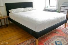 how to create your own custom upholstered bed frame for under $100.00...the one I wanted was 1200.00 at CB2 and then they stopped making them...I am so happy to find this !    (credit: Daniel Kanter [http://manhattan-nest.com/2010/07/23/a-whole-mess-of-staples/])