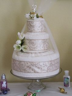 Bridal Shower Towel Cake | Luxury Wedding Towel Cake. Our most popular Wedding Towel Cake.
