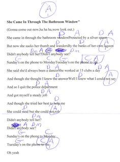 She Came In The Bathroom Window The Beatles Guitar Chord Chart Online Guitar Lessons Lyrics And Chords Basic Guitar Lessons