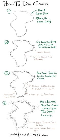 How to Draw Coastlines on a Fantasy Map. Embroidering maps?