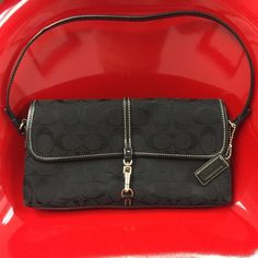 """Authentic Coach Bag AUTHENTICBlack Coach Bag with Signature Tag, C Logo, Stamped Signature on Bottom Leather Strip and Inside Zippered Pocket! In PERFECT CONDITION! Only used once!! 10"""" L x 1"""" W x 5"""" Deep (A little larger than a clutch) Coach Bags Mini Bags"""