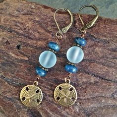 Sand Dollar and Sea Glass Drop Beachy Boho Dangle Earrings Elegant Great Gift by BohoJewelryBoutique on Etsy