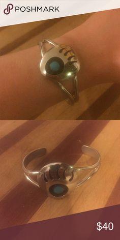 Turquoise bear paw bracelet Cuff bracelet, faux turquoise Jewelry Bracelets