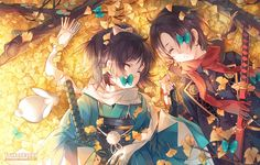 all_male animal butterfly instocklee japanese_clothes kashuu_kiyomitsu katana long_hair male ponytail rabbit scarf sleeping sword touken_ranbu watermark weapon yamato_no_kami_yasusada Touken Ranbu, Anime Siblings, Cute Anime Couples, Anime Love, Kawaii Anime, Anime Sword, Manga Art, Manga Anime, Animé Fan Art
