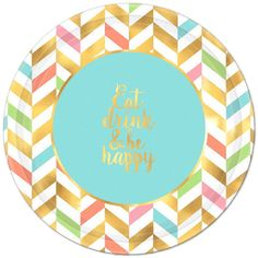 Brighten up your spring party decorations with Pastel & Gold Herringbone Dinner Plates! These large paper plates feature a multicolor herringbone pattern and the headline 'Eat Drink & Be Happy. Birthday Supplies, Kids Party Supplies, Adult Birthday Party, Birthday Party Themes, Pastell Party, Party Kit, Party Ideas, Personalized Favors, 1st Birthdays