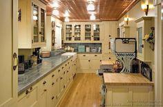 Vintage Kitchen Cabinets - copper ceilings