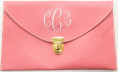 Monogrammed Clutch Purse {Coral}