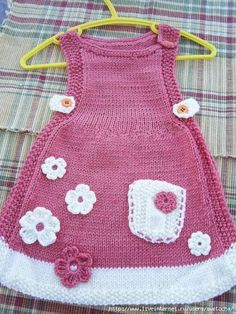 No automatic alt text available. Easy Knitting Patterns, Knitting For Kids, Baby Knitting, New Baby Dress, Baby Girl Dresses, Crochet Girls Dress Pattern, Diy Kleidung, Diy Mode, Diy Dress