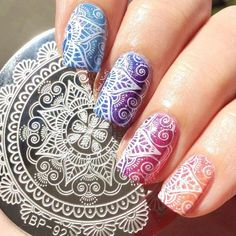 Cheap plate making, Buy Quality plate fabric directly from China plate art Suppliers: 1 Pc BORN PRETTY Round Nail Art Stamp Template Arabesque Full Lace Flower Design Image Nail Stamping Plate Nail Art Designs, Nail Designs Spring, Nail Stamping Designs, Nails Design, Lace Nail Art, Flower Nail Art, Spring Nail Art, Spring Nails, Summer Nails