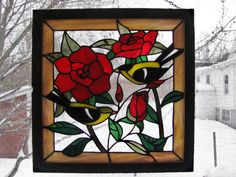 Gold Finches in the Rose Garden Stained by RedfordGlassStudio, $125.00