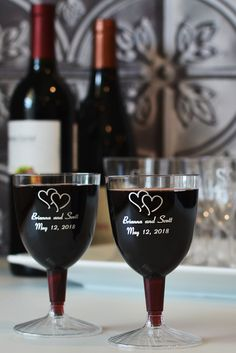 5 Oz Custom Printed Disposable Plastic Wine Goblets Set Of 50