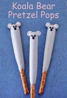 Your kids will love these cute Koala Pretzel Pops. Each chocolate dipped pretzel rod is easy to decorate using modeling chocolate to look like a sweet koala bear. Bear Birthday, Animal Birthday, 20th Birthday, Australian Party, Chocolate Dipped Pretzels, Australia Day, Thinking Day, Food Themes, Birthday Party Themes