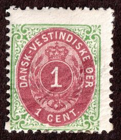 Danish West Indies Sc 5c 1¢ Green and Brown-red Inverted Frame Unused 1874-96