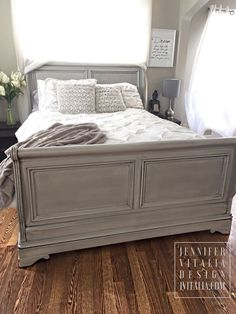 sleigh bed gray handpainted custom orderd by