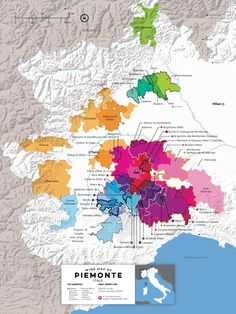 Italy-Piedmont-Wine-Map - Piedmont (Piemonte) is one of Italy's top wine regions for highquality red wines. For example, the region's most exaltedred hailsfrom the tiny villageof Barolo. However, if you look beyond Barolo, there'saworld of exceptionalwines (and great values) to be found. This wine map outlines the locations of the 59 DOC/DOCGs of Piedmont, opening you up to all the regionsto explore.