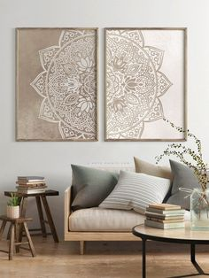 Beige Taupe Mandala Wall Art Set of 2 Prints Neutral Color Poster Boho Living Room Large Wall . - Beige Taupe Mandala Wall Art Set of 2 Prints Neutral Color Poster Boho Living Room Large Wall Art, - Indian Living Rooms, Boho Living Room, Living Room Decor, Taupe Living Room, Art For Living Room, Living Room Paintings, Dinning Room Wall Art, Decorating A Large Wall In Living Room, Living Room Artwork