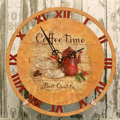 Wall Clock.   Coffeetime.  Made to order by donaFlora on Etsy, $50.00