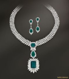 Mouawad Jewelry - Haute Joaillerie 18k White Gold Diamond & Emerald Necklace and Earrings Se