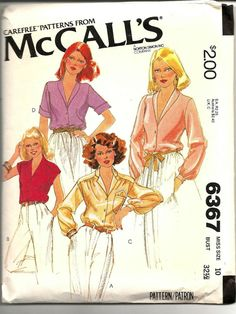 1970s Blouse Sewing Pattern Vintage McCall's 6367 1970s by SunshineRd