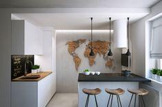 indirekte Deckenbeleuchtung mit kaltem Licht in der Küche
