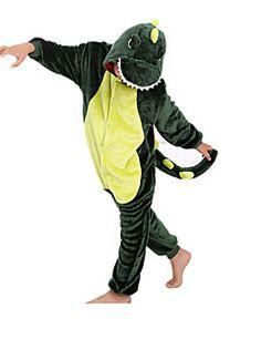 Kigurumi Pijamas Dinossauro Malha Collant/Pijama Macacão Festival/Celebração Pijamas Animal Verde Miscelânea Flanela Kigurumi Para Criança
