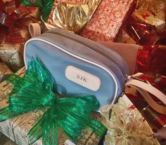 Jon Hart Shave Kit shown in Slate coated canvas Natural Leather, Michael Kors Jet Set, Slate, Shaving, Great Gifts, Monogram, Zipper, Kit, Canvas