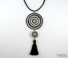 Black tassel necklace christmas gift polymer by IsabellaArtJewelry