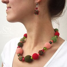 Crochet bead NECKLACERed, Green & Pink by AmazingDay,