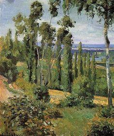 """Camille Pissarro (1830-1903) ~ """"Conflans Sainte Honorine, Campagne à Proximité"""", 1874 (Détail) ~ Huile sur Toile ~ Collection Privée"""