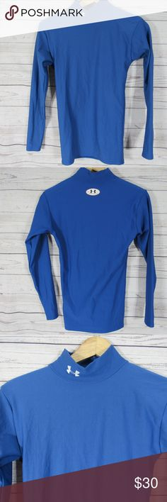 Under Amour Shirt Mens Small S Blue Long Sleeve Under Amour Shirt Mens Small S Blue Long Sleeve Mock Turtle Cold Gear Compression  Armpit to armpit is approximately 16 inches  Length is approximately 24 inches  Condition: Good condition SKU:A94 Under Amour Tops