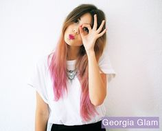 Georgia Glam ombre pink hair