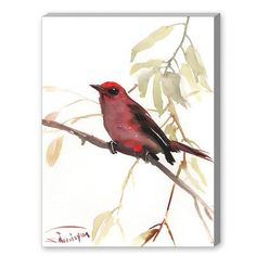 """Americanflat Summer Tanager by Suren Nersisyan Painting Print on Canvas Size: 30"""" H x 24"""" W x 1.5"""" D"""