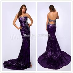 Online Shop Dazzling Sweetheart Neckline Sleeveless Dark Purple Long Mermaid Fully Sequined Beaded Prom Dresses 2014 Evening Pageant Gowns|Aliexpress Mobile