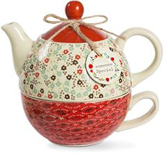 Live Simply - Someone Special Red Floral Teapot and Teacup for One Set Tea Strainer, Tea Kettles, Cheer Up Gifts, Tea For One, Teapots And Cups, How To Make Tea, Chocolate Pots, Clay Pots, Tea Time