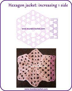 Patron campera o saquito tejida con 2 hexagonos a crochet o ganchillo con paso a paso o tutorial Crochet Poncho Patterns, Crochet Motifs, Crochet Jacket, Crochet Chart, Crochet Cardigan, Crochet Granny, Knitting Patterns, Pull Crochet, Knit Crochet