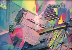 Abstract painting based on geometric composition. Architectural patterns and features, bridge and silhouette of flying bird - swallow. Urban geometry and animal feature create a modern looking abstract composition, contemporary artwork. Dominant colors: purple, dark blue. Animal Paintings Original, Livingroom Painting, Apartment Decor, Bird Paintings on Canvas, Swallow, Animal Paintings on Canvas