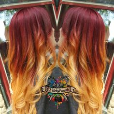 Amazing red ombre hair color to blonde ends~ wonderful sunset hairstyle