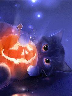 Cat Art... =^. ^=... ❤... Halloween GiF☠By Artist Apofiss...