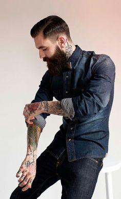 Ricki Hall wearing lots of denim - full thick dark beard and mustache beards bearded man men mens' style fashion jean tattoos tattooed hair hairstyle model #beardsforever