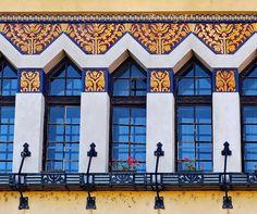 Hungarian Art Nouveau | Nagymaros school Hungary Built in 1913-1914 Design: Sváb Gyula Majolica decoration with stylized Hungarian folk motifs on the facade. Probably Zsolnay ceramics. | via elinor04 on flickr