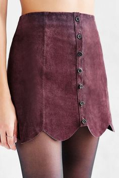 Ecote Scalloped A-Line Suede Skirt
