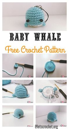 Crochet Baby Patterns Crochet Amigurumi FREE Baby Whale Crochet Pattern - This FREE Baby Whale Crochet Pattern is wonderful for using leftover yarn. It is a fast and easy beginner project. Crochet Pattern Free, Crochet Keychain Pattern, Crochet Animal Patterns, Crochet Patterns Amigurumi, Crochet Dolls, Crochet Stitches, Knitting Patterns, Baby Patterns, Free Knitting