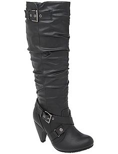 "Avg. 18"" circumference / Cone heel tall boot by Lane Bryant / $79.95"
