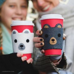 Make your own super-cute felt coffee sleeves, perfect for Fall. Keep those chilly fingers from getting burned! Design and pattern by Lia Griffith.